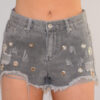 grey distressed shorts close up front